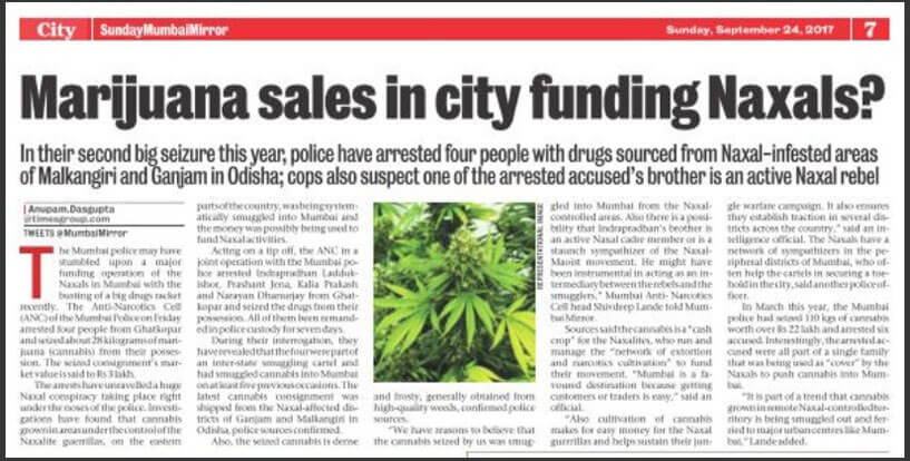 Marijuana sales in city funding Naxals - An Article from Mumbai Mirror on 24th September 2017